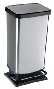 """Rotho Mülleimer """"Paso"""" 40 Liter│ geruchsdichter Abfalleimer – 35.3×29.5×67.6cm│ Papierkorb aus Kunststoff (PP) in Edelstahl-Optik │ Tretmechanismus zum Öffnen des Abfallbehälters"""