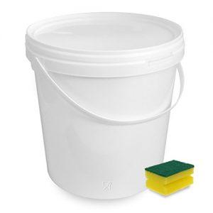 10 Liter Eimer mit Deckel, weiß, stapelbar, mit Lebensmittelfreigabe