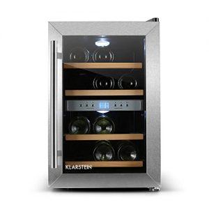 Klarstein Reserva 12 – Weinkühlschrank Getränkekühlschrank (34 Liter für 12 Flaschen, 2 Zonen, Glastür, LCD-Display) schwarz-silber