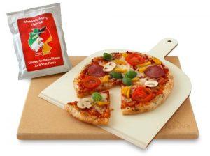 Vesuvo V38301 Pizzastein- / Brotbackbackstein Set für Backofen und Grill / eckig / 38×30 cm / mit Pizzaschaufel und Pizzamehl