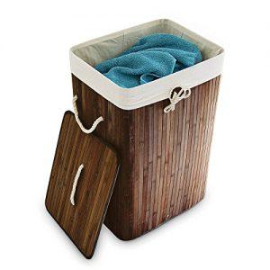 Relaxdays Wäschekorb Bambus H x B x T: ca. 65,5 x 43,5 x 33,5 cm faltbare Wäschetruhe rechteckig mit einem Fassungsvolumen von 83 L mit Wäschesack aus Baumwolle zum Herausnehmen als Wäschepuff, braun
