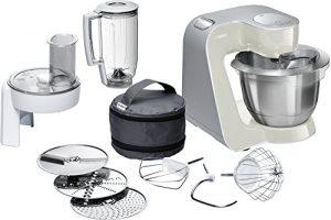 Bosch MUM58L20 Küchenmaschine CreationLine, 1000 W, 3,9 L Edelstahl-Rührschüssel, Durchlaufschnitzler, Mixer-Aufsatz, mineral grau / silber