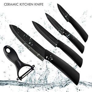 Ankway keramikmesser set Küchenmesser aus keramisch,4-teilig Messer und 1 Sparschäler-Schwarz