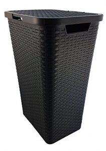 Wäschekorb Wäschebox Wäschetruhe Wäschekiste Wäschesammler Wäschetonne mit Deckel Kunststoff in Flechtoptik – Braun