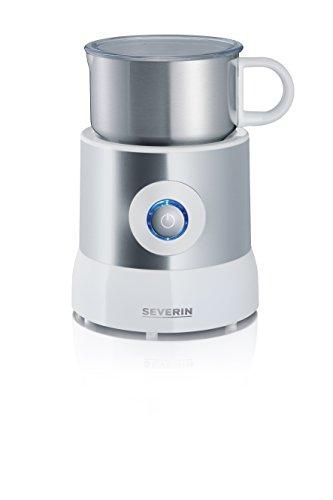 Severin SM 9684 Milchaufschäumer (500 Watt, Induktion, 500 ml, kaltes und warmes Aufschäumen) Edelstahl/weiß