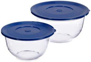 Emsa 503919 2er Set Salatschalen mit Deckel, Glasklarer Kunststoff, 2 und 3.5 Liter, Ø 22 und 26 cm, Transparent/Blau, Superline