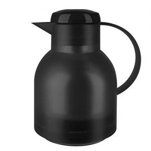 Emsa 504235 Isolierkanne, 1 Liter, Quick Press Verschluss, 100% dicht, Transluzent Schwarz, Samba