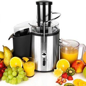 Entsafter für Obst und Gemüse aus Edelstahl Motorleistung max. 1050W große 85 mm Einfüllöffnung Saftpresse Obstpresse Fruchtentsafter