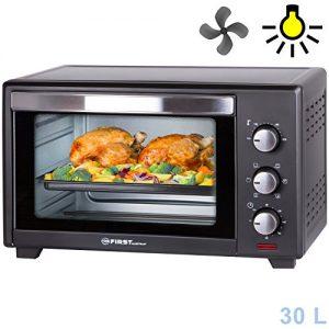 30 Liter, 1600 Watt Backofen mit Innenbeleuchtung und Umluft Mini Pizza-Ofen, Doppelglastür, Timer