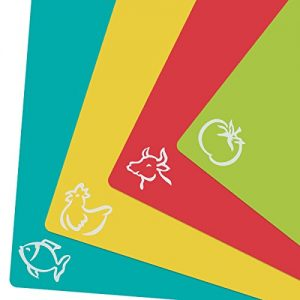 ZITFRI 4er Set Schneidebrett Kunststoff 38×30,5cm Schneidematte antibakteriell Tranchierbrett Frühstücksbrett biegsam hygiene und rutschfest, getrennter Gebrauch für Lebensmittel wie Fisch / Gemüse / Geflügel / Fleisch
