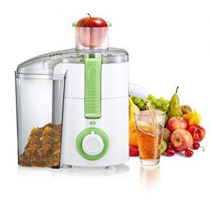 Elektrischer Entsafter aus Edelstahl mit 2 Leistungsstufen und extra großem Fruchtfleischbehälter für Früchte (z.B. Orangen) und Gemüse