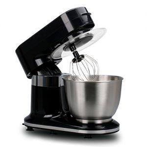 Excelvan Küchenmaschine 1000W 5,5L Edelstahl-Rührschüssel mit Spritzschutz Deckel und 3 Mischanbau-Rührbesen Knethaken und Schneebesen Schwarz