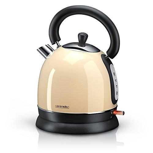 Arendo - 3000 Watt Retro Edelstahl Wasserkocher / Teekessel | 3000 Watt Leistungsaufnahme (Schnellkoch-Wasserkocher) | integrierter Kalkfilter rausnehmbar | Füllmenge maximal 1,8 Liter | automatische Abschaltung | in Creme