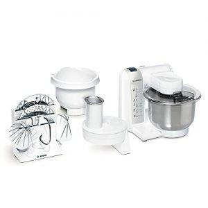 Bosch MUM4835 Küchenmaschine MUM4 (600 Watt, 3.9 Liter, Edelstahl-Rührschüssel, Durchlaufschnitzler, Kunststoff-Rührschüssel, Rezept DVD) weiß