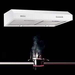 NEG Dunstabzugshaube NEG15 (weiß) Edelstahl-Unterbau-Haube (Abluft/Umluft) mit LED-Beleuchtung, 60cm für Unterschrank- oder Wandanschluss
