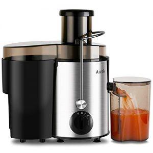 Aicok Entsafter Edelstahl Trennscheiben Juicer 2 Geschwindigkeiten Für Obst und Gemüse Mit Saftbehälter und Reinigungsbürste