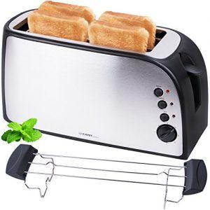 Edelstahl 4 Scheiben Toaster 1500 Watt mit Krümelschublade Sandwich Langschlitz / abnembarer Brötchenaufsatz / doppelt isoliertes Gehäuse, stufenlose Temperatureinstellung