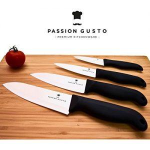 Keramik Messer Set schwarz weiß – 4 edle Küchenmesser aus Zirkonia-Keramik inklusive 4x Klingenschutz in Magnet-Geschenkbox auf Echtschaum
