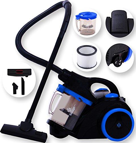Kesser® 1200 Watt Staubsauger Bodenstaubsauger Beutellos mit Hepa Filter Zyklon, Farbe:Schwarz / Blau