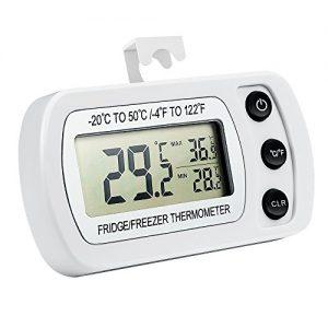 Oria Digital Kühlschrank Thermometer Wasserdicht Gefrierschrank Thermometer mit Haken Leicht zu LCD-Display Lesen, Max/Min Funktion Perfekt für Wohnhaus, Restaurants, Bars, Cafes, Eisschrank, etc.