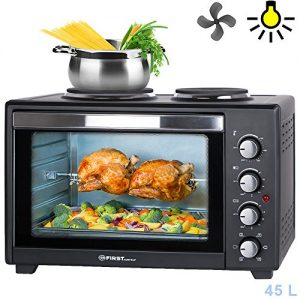45 Liter 3200 Watt Mini-Backofen mit Kochplatten | Drehspieß und Umluft Mini Pizzaofen | Mini-Küche | Kochplatten separat bedienbar | gleichzeitig kochen und backen