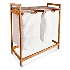 Relaxdays Wäschesammler LINEA Bambus H x B x T: 73x64x33 cm 2 Wäschesäcke aus Stoff sowie 2 Ablagen mit 60 Litern für Wäsche als praktischer Wäschepuff zum Herausziehen mit seitlichen Griffen, natur