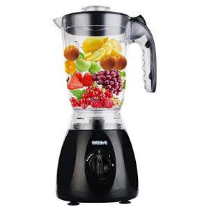 Haehne HN-3366 2-IN-1 Ernährung Obst Blender – 1.5L 350W Plastikkanne mit Mühle Grinder Multi Food Suppe – Schwarz