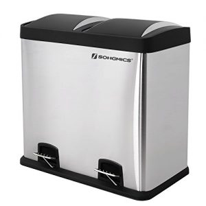 Songmics Mülleimer Abfalleimer 48 L für Küche Mülltrennsystem mit Pedal Edelstahl LTB48L
