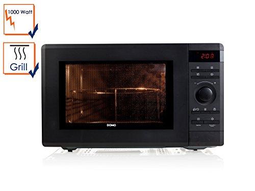 Domo DO2336G Mikrowelle mit Grill, 36Liter Volumen, 8 Kochprogramme, Timer, Auftaufunktion, Endsignalton, Sicherheitsverschluss, schwarz
