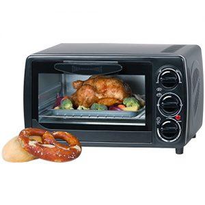 Minibackofen 12 Liter mit Unterhitze, Oberhitze, 1000 Watt bis 250 Grad, 60 Minuten Timer, 3 Einschubhöhen / Doppelverglaste Tür mit Gummidichtung, Mini Ofen
