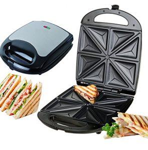 Edelstahl XXL Sandwichmaker 4er Sandwichtoaster für 4 Sandwiches 1.100 Watt