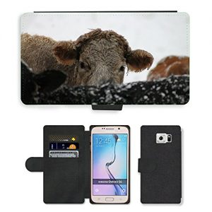 PU LEDER LEATHER FLIP CASE COVER HÜLLE ETUI TASCHE SCHALE // M00130684 Cow Animal Farm kalten Schnee Gefrieren // Samsung Galaxy S6 (Not Fits S6 EDGE)