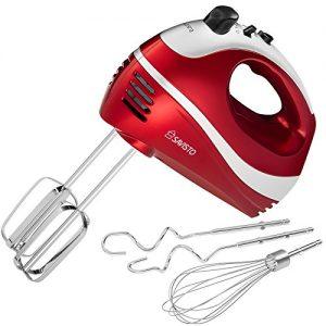 Savisto 300W Elektrisches Handmixer mit Quirl, Knethaken und Schneebesen Aufsatz – 5 Geschwindigkeitsstufen und Turbotaste Handrührgerät – Rot / Grau