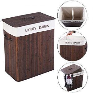 Wäschekorb Wäschekörbe Wäschebox Wäschetruhe Wäschesammler Bambus mit Leinen KleidersackWäschetone Wäschewagen 100L (Braun)