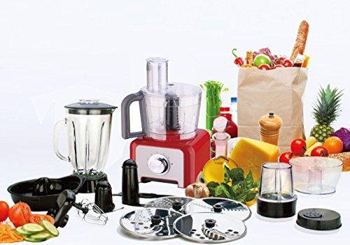 1200 Watt Edelstahl Küchenmaschine mit Glas Stand Mixer Ice Crusher 3L Multimixer DMS® (Rot)