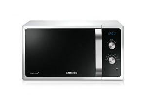 Samsung MS23F301EAW/EG Mikrowelle / 800 W / 23 L Garraum / Auftauprogramm / Triple Distribution System / Keramik-Emaille-Innenraum / weiß