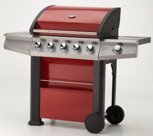 Gasgrill MAXXUS® BBQ CHIEF 7.0 rot – 5 Edelstahlbrenner, Grill mit doppelwandiger Haube, Seitenbrenner, Fettwanne