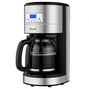 Aicok Kaffeemaschine 12 Tassen, Kaffeemaschine mit Timer, Glaskanne, Dauerfilter, Tropfstopp, Schwarz/Edelstahl