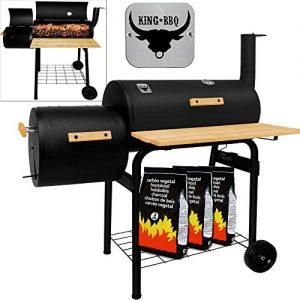 Räuchergrill Grillstation – BBQ Smoker Grillstation auf Rollen mit 2 Kammern – Grillwagen Kohlegrill