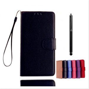 KSHOP Case Cover für HTC One M7 Hülle Tasche Schutzhülle Schale Bookstyle Handyhülle Premium PU-Leder Schwarz Etui Handy Schutz Brieftasche Magnetverschluss – Metall Touch-Pen Schwarz