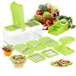 Duomishu Multi Schneider Gemüsehobel und Reibe Handschutz küchenreibe Raspel Hobel für schneide, hacke, würfle, reiben und julienne ect (9 in 1)