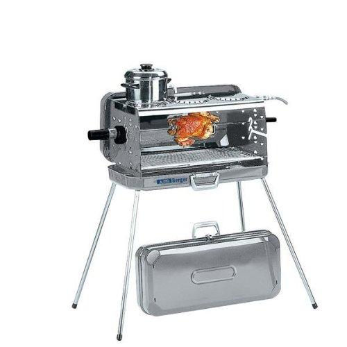 Berger 3-Flammen Koffer-Gasgrill 50 mbar Ausführung mit Kochplatte Edelstahl