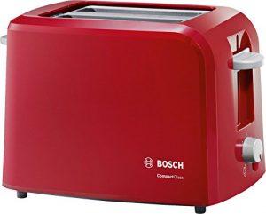 Bosch TAT3A014 Kompakt-Toaster Compact Class, Frühstückset, rot