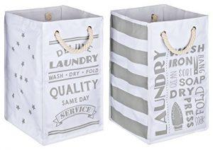 TOPP4u Wäschekorb weiß – grau 2er Set, 4 tolle Designs Vintage, 45 Ltr je Wäschesammler, faltbarer Wäschesack, 30x30x50 cm, langlebige und praktische Wäschebeutel