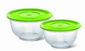 Emsa 514563 2er Set Salatschalen mit Deckel, Glasklarer Kunststoff, 2 und 3.5 Liter, Ø 22 und 26 cm, Transparent/Grün, Superline