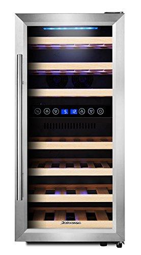 Kalamera KRC-33BSS Design Weinkühlschrank für bis zu 33 Flaschen (bis zu 310 mm Höhe), Zweizonen Weintemperierschrank mit Kompressor,5-10°C/10-18°C,(100 Liter, LED Bedienoberfläche, Edelstahl Glastür)