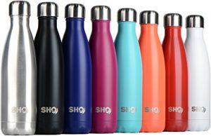 YOUR Bottle! von SHO – Perfekte Vakuumisolierte, Doppelwandige Wasserflasche & Trinkflasche aus Hochwertigem Edelstahl (Isolierflasche) für Büro und Alltag – 24 Std. Kühlen & 12 Std. Warmhalten – Verschiedene Größen 500ml, 750ml & 1000ml – BPA-frei – Lebenslange Garantie (Original Stainless Steel, 500ml)