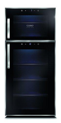 CASO WineDuett Touch 21 Design Weinkühlschrank für bis zu 21 Flaschen (bis zu 310 mm Höhe), zwei Temperaturzonen 7-18°C