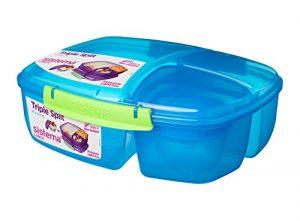 Sistema Lunch Triple Split Lunchbox mit Joghurttopf, 2Liter, plastik, blau / grün, 24.5 x 20 x 9.1999999999999993 cm