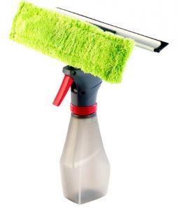 Sichler Haushaltsgeräte 3in1-Fensterreiniger mit Sprühflasche, Putztuch und Abziehlippe